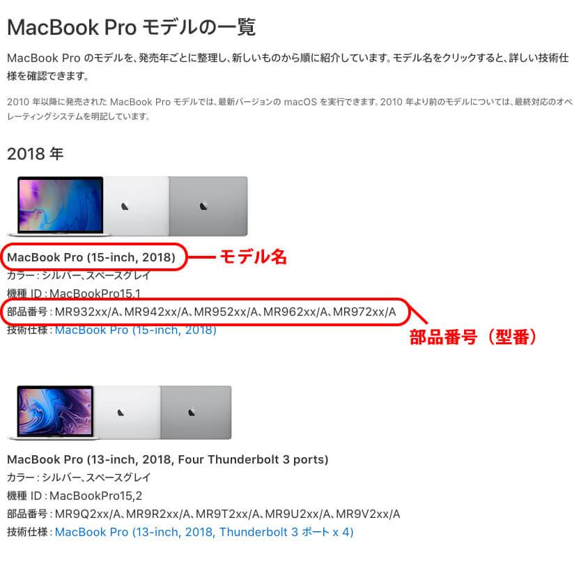 MacBook Proのモデル一覧ページ